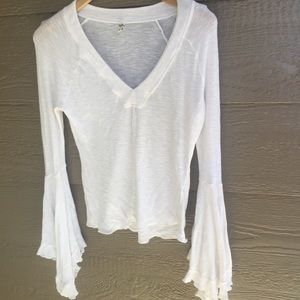 Free People Ribbed Fitted White V Neck Bell Sleeve